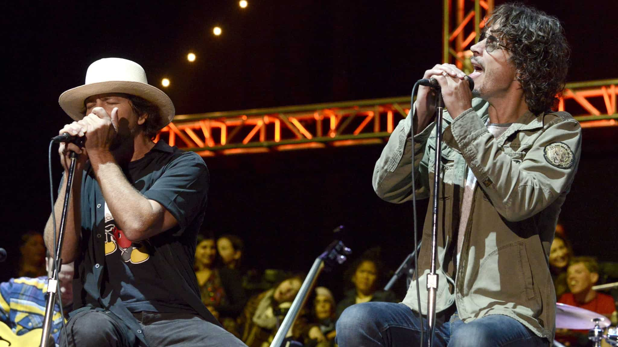 Eddie Vedder and Chris Cornell performing live